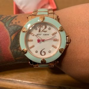 Betsey Johnson Mint Rose Gold Heart Detail Watch